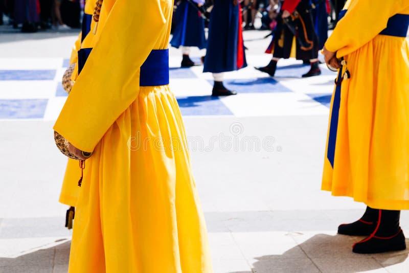 Königliche Schutzparade der Zeremonie in Deoksugungs-Palast, Seoul, Korea stockfotografie
