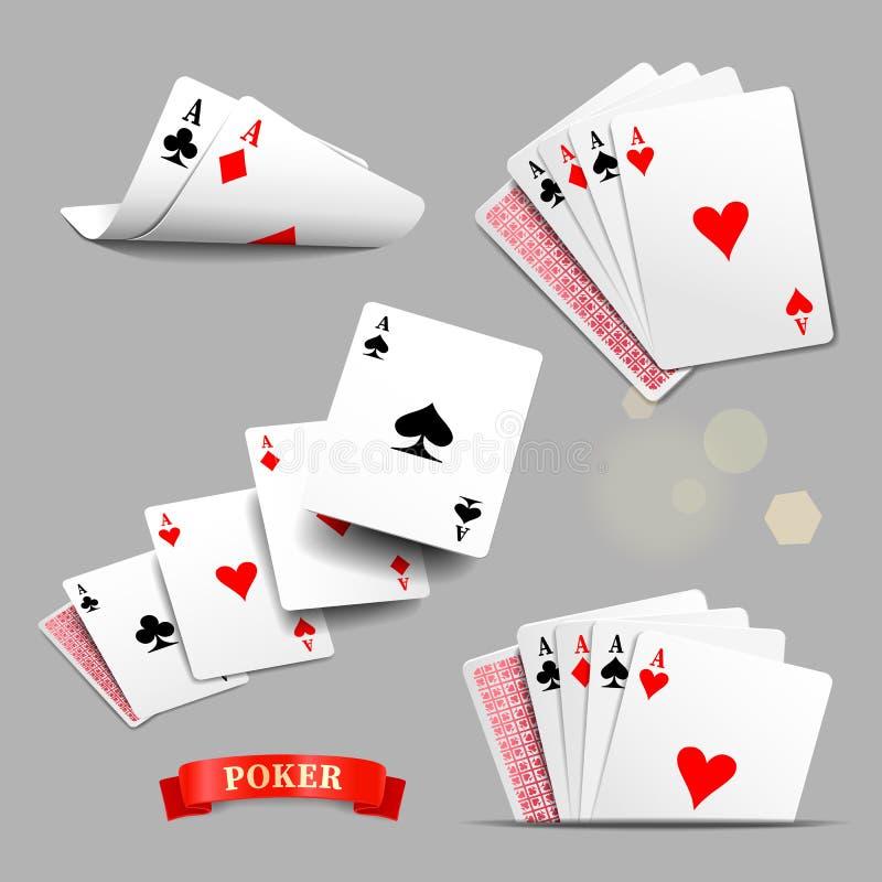 Königliche Spaten des Spielkartekasinoblinkens Vier Spielkarten der Asse Karikatur polar mit Herzen stock abbildung