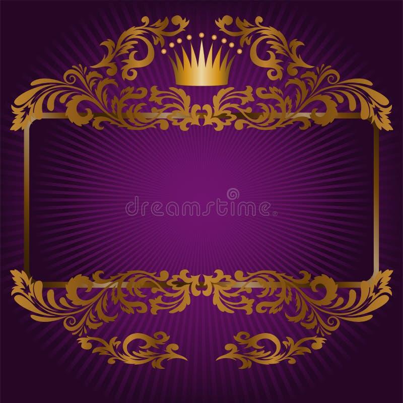 Königliche Symbole auf einem purpurroten Hintergrund vektor abbildung
