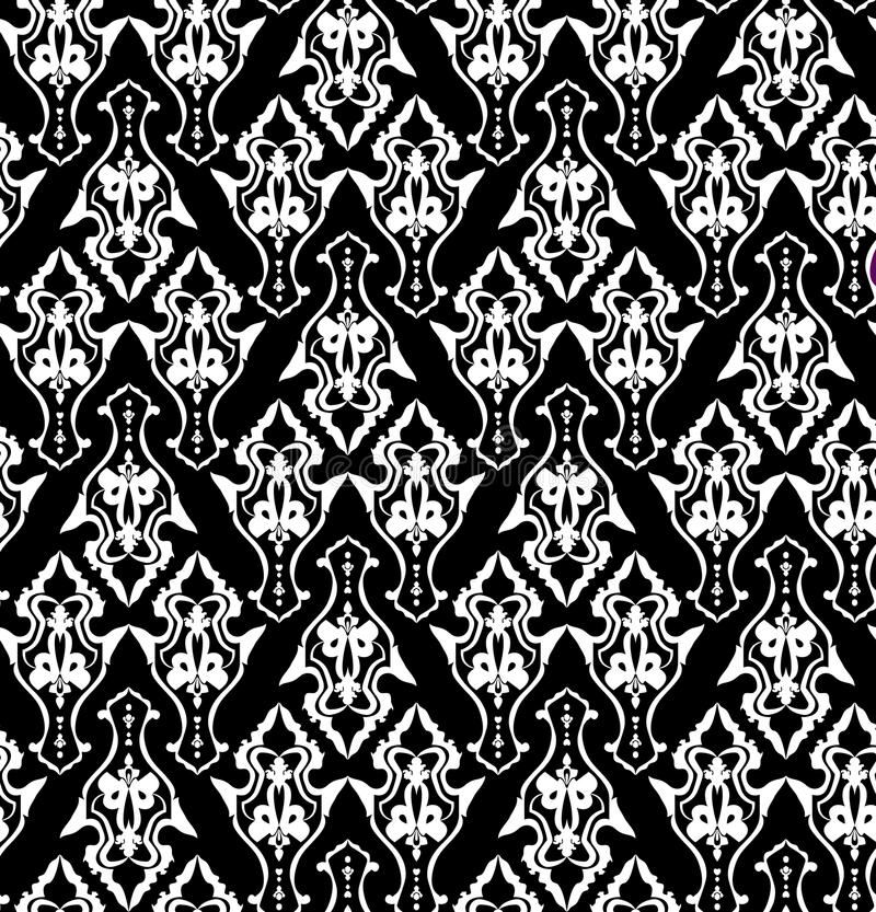 Königliche Tapete mit klassischem nahtlosem Blumenschwarzweiss-muster vektor abbildung