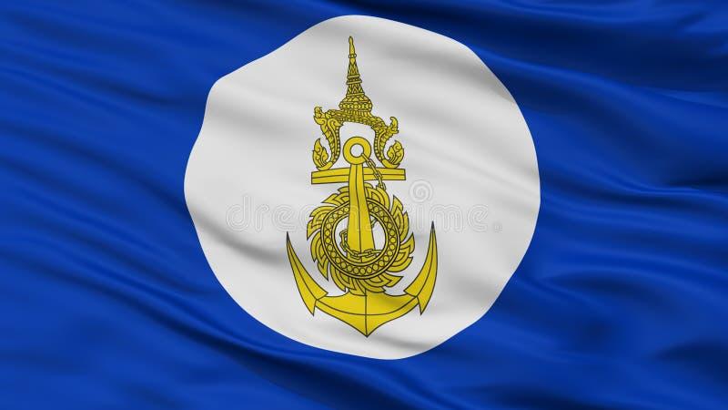 Königliche thailändische Marine-Flaggen-Nahaufnahme-Ansicht stock abbildung