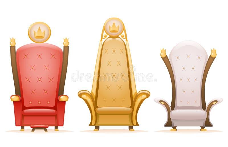 Königliche Thronkönigmachthabermärchen-Lehnsesselkarikatur 3d lokalisierte Ikonen eingestellte Vektorillustration lizenzfreie abbildung