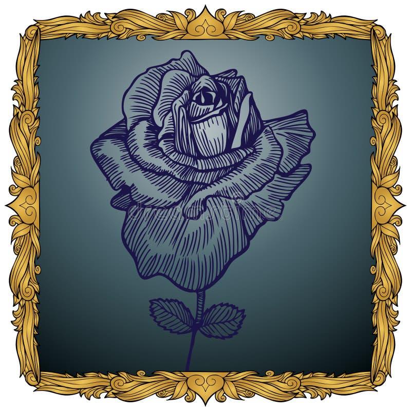 Königlicher König Frame mit Rose stock abbildung