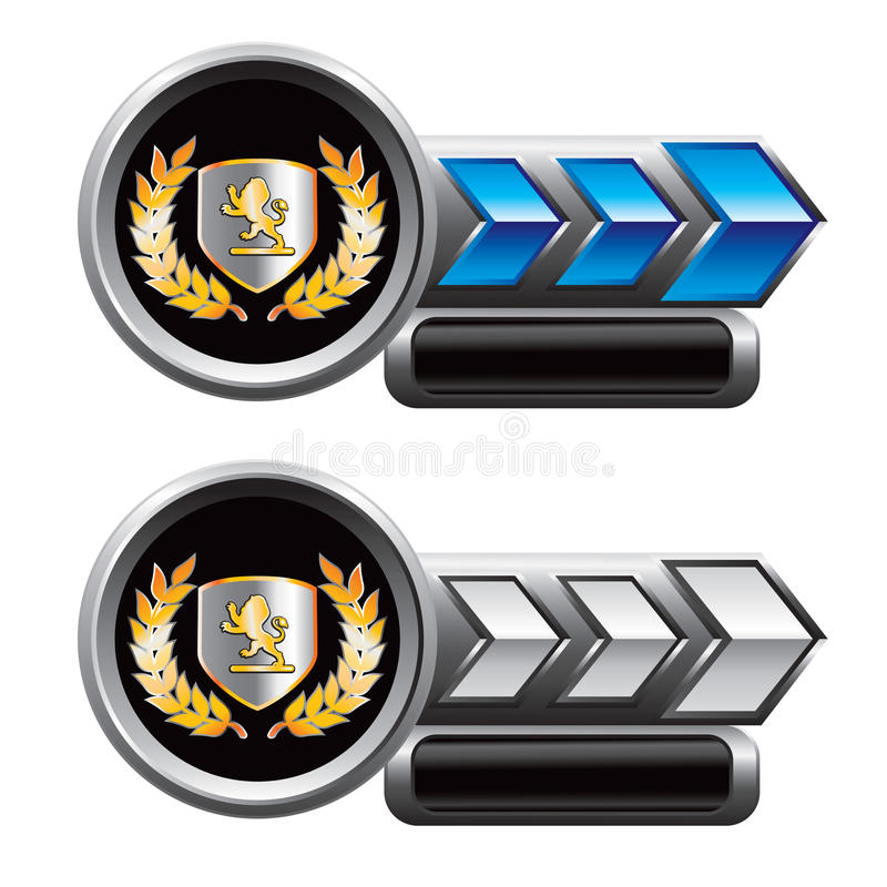 Königlicher Löwescheitel auf Blau- und Silberpfeilanzeigen lizenzfreie abbildung