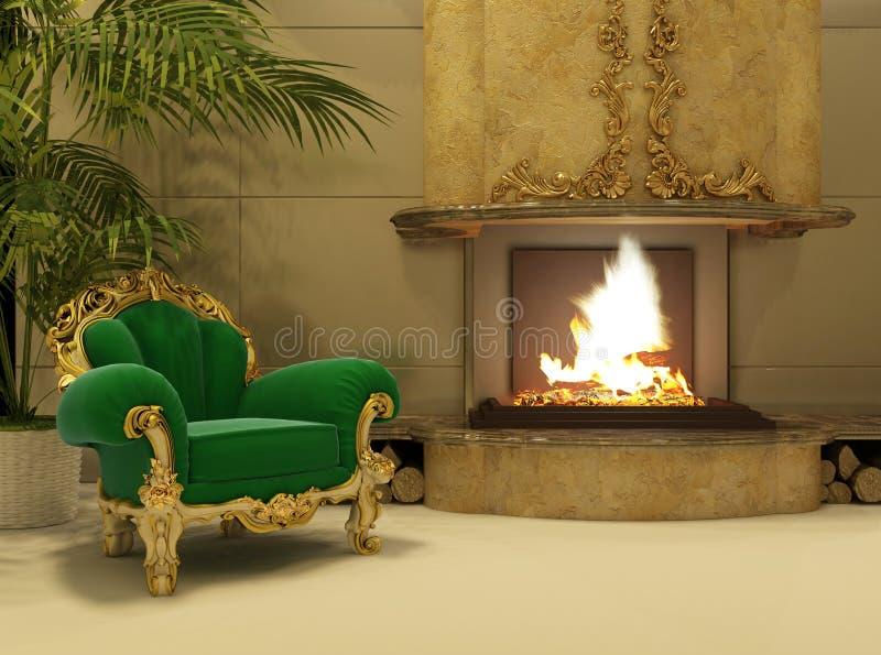 Königlicher Lehnsessel durch Kamin im Luxuxinnenraum lizenzfreie abbildung