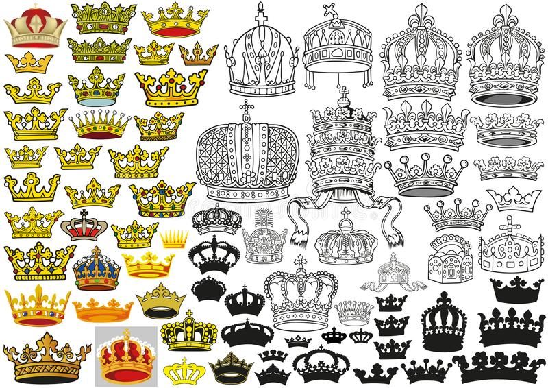 Königlicher mittelalterlicher heraldischer Kronen-Satz stock abbildung