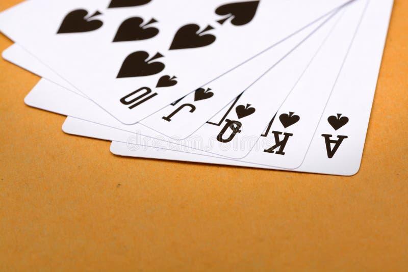Königlicher Poker des geraden Errötens des schwarzen Spatens lizenzfreie stockfotos