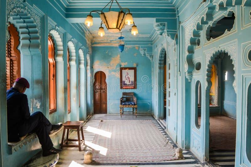 Königlicher Raum im Stadt-Palast, Udaipur, Indien lizenzfreie stockfotos