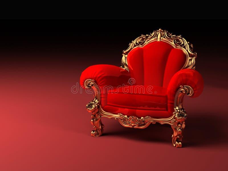 Königlicher roter Lehnsessel mit Feld lizenzfreies stockfoto