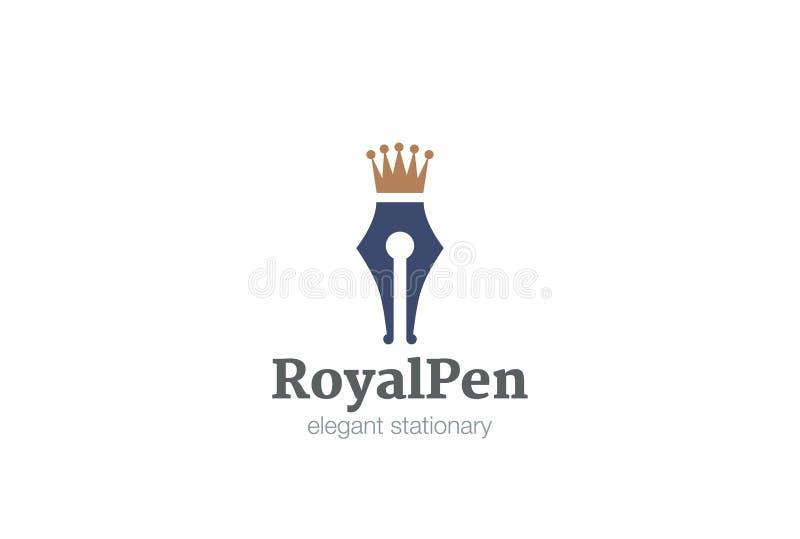 Königlicher Stiftkrone Logo-Designvektor lizenzfreie abbildung