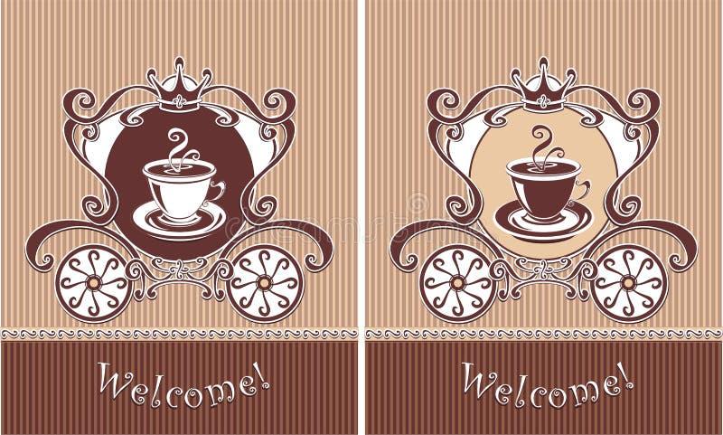 Königlicher Tasse Kaffee oder Tee im Wagen stock abbildung