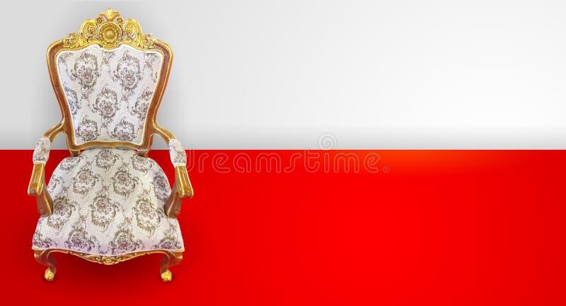 Königlicher Thron auf rotem und weißem Hintergrund lizenzfreie stockbilder
