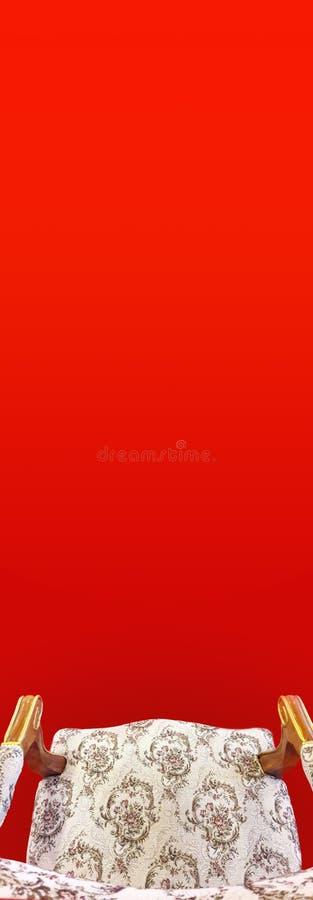Königlicher Thron auf rotem und weißem Hintergrund stockbild