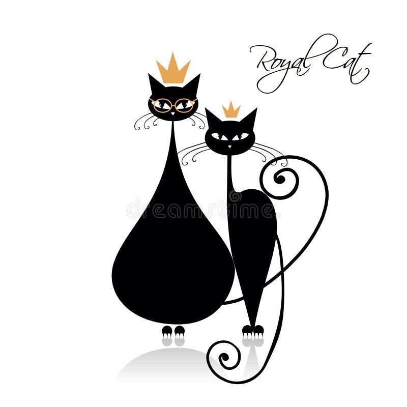 Königliches Design der schwarzen Katzen Auch im corel abgehobenen Betrag lizenzfreie abbildung