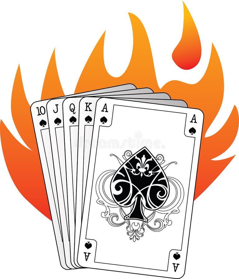 Königliches Erröten in den Spaten mit Flammen stockfotos