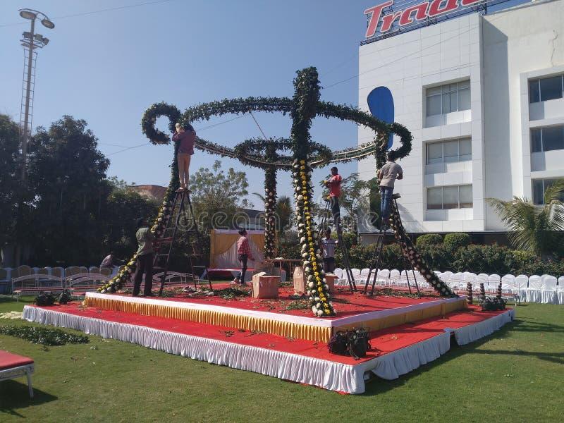 Königliches Indien-Bankett Hall/Heirat-Hall-Hochzeitsbestimmungsort in Indien stockfoto