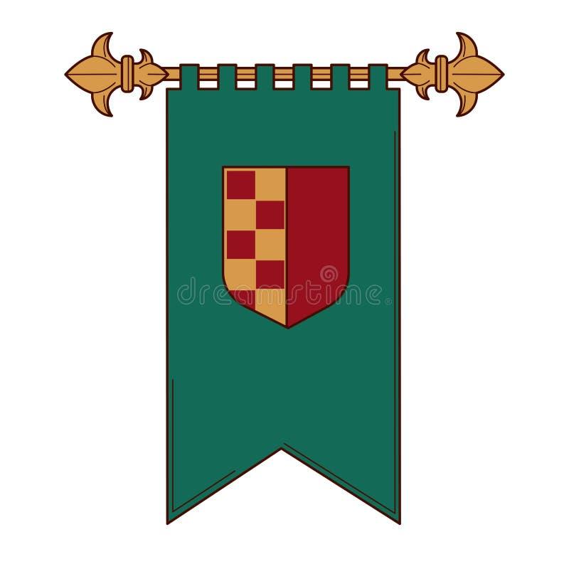 Königliches mittelalterliches lokalisierte Wappenkunde der Flagge Schild stock abbildung