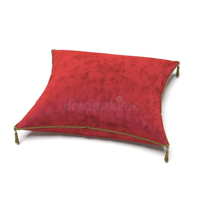 Königliches rotes Samtkissen lizenzfreie stockbilder