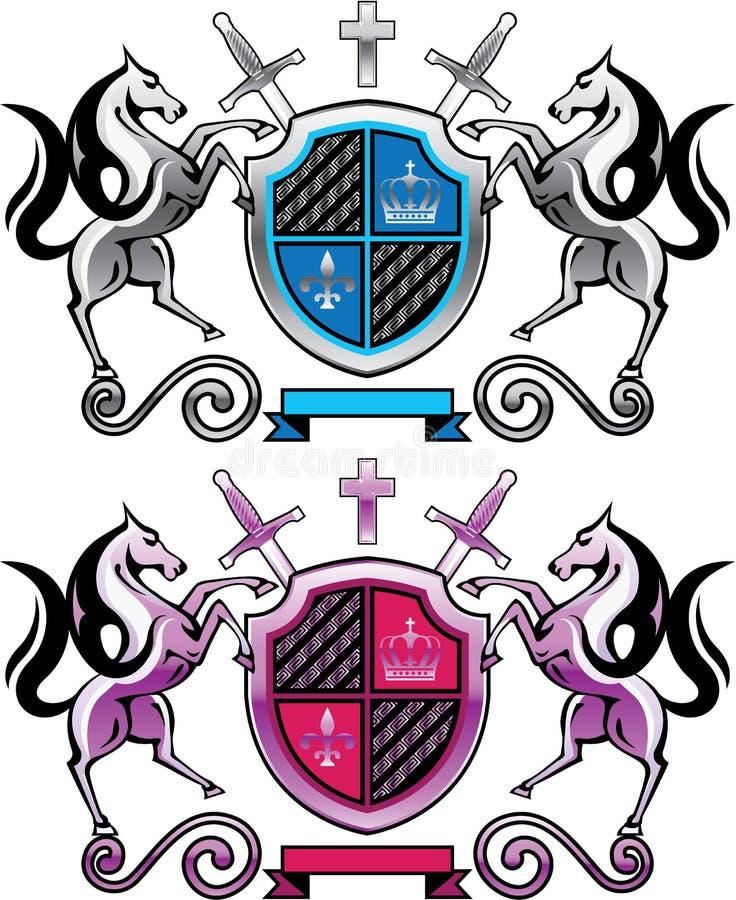 Königliches Schild mit Pferde-und Klingen-silbernen purpurroten metallischen Vektoren vektor abbildung