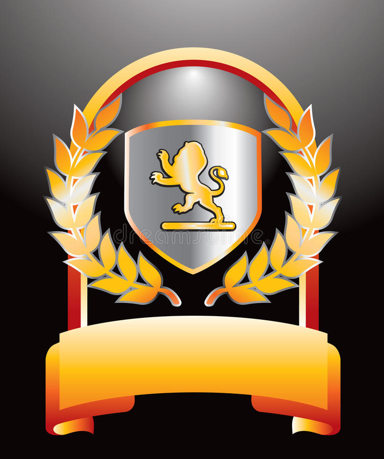 Königliches Schild und Blätter auf Goldbildschirmanzeige lizenzfreie abbildung