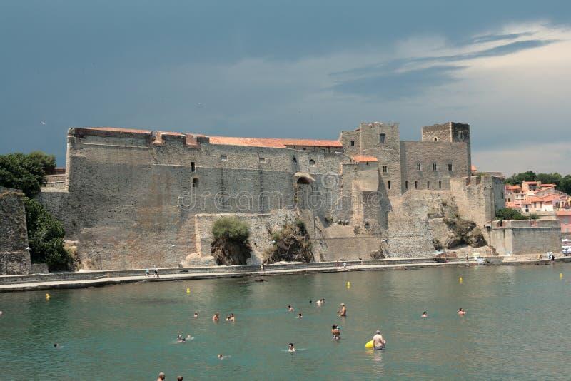 Königliches Schloss von Collioure in Frankreich stockfotografie