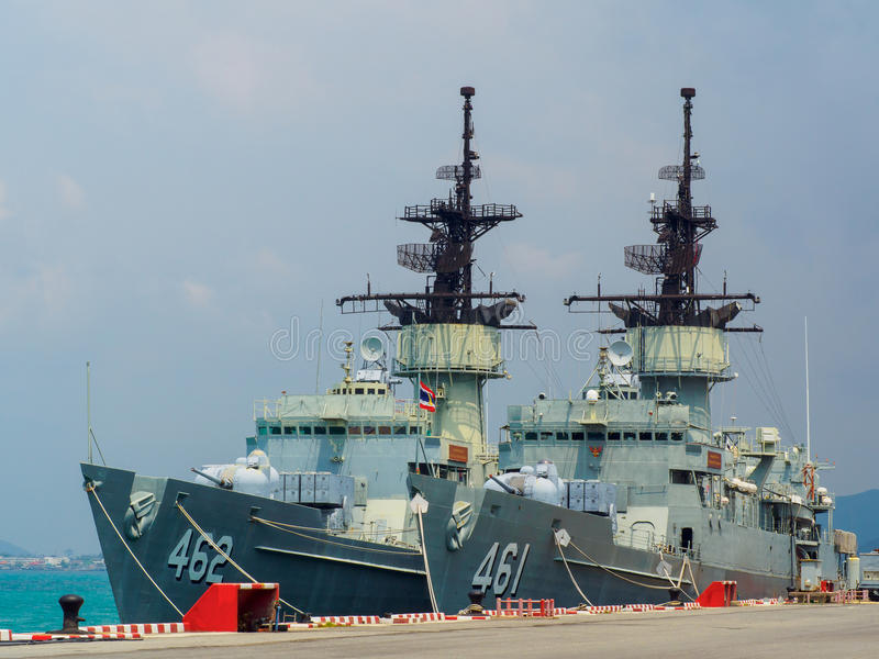 Königliches thailändisches Marine knox Klassen-Fregattedock in sattahip Marinebasis Thailand stockfotografie