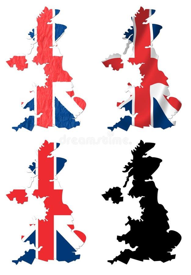 Königreich-Flagge über Karte lizenzfreie abbildung
