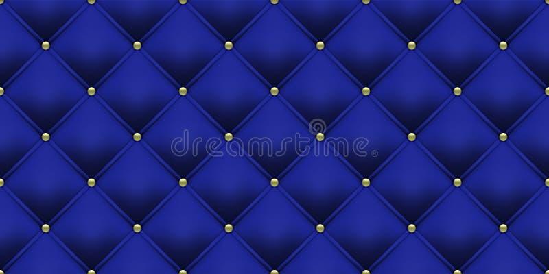 Königsblauhintergrundgoldknopfmuster Vektorleder- oder -samtweinleseluxuspolsterung mit den goldenen Knöpfen nahtlos stock abbildung