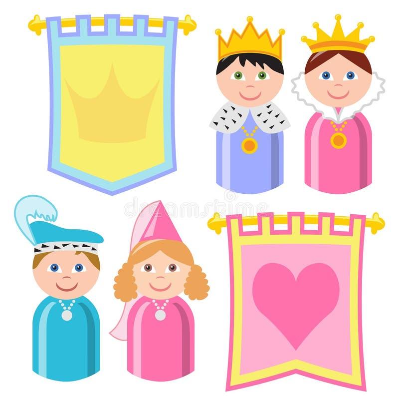 Königsfamilie-Fahnen lizenzfreie abbildung