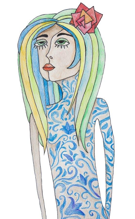 Könlös person med färgrika hår- och blåtttatueringar Abstrakt vattenfärgillustration som isoleras på vit bakgrund stock illustrationer