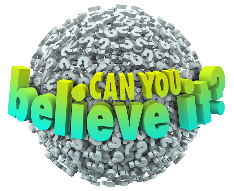Können Sie es glauben Fragezeichen-Ball unglaubliches unglaubliches F stock abbildung