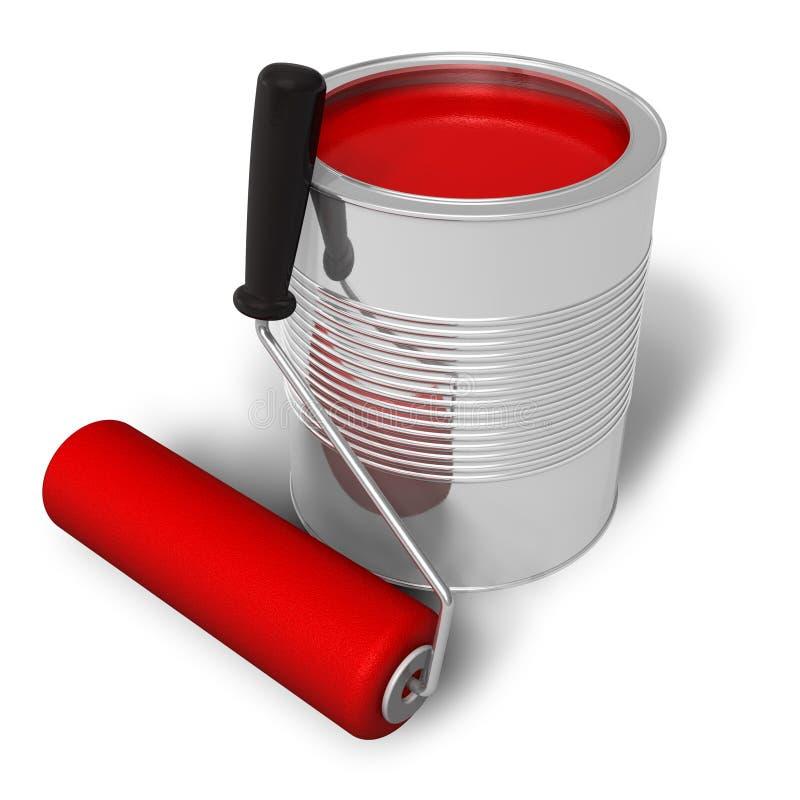 Können Sie mit rotem Lack- und Rollenpinsel lizenzfreie abbildung