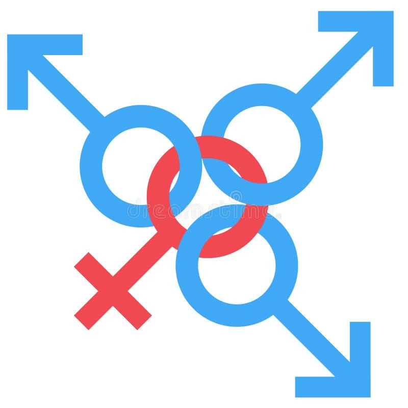 Könsbestämma det svenska familjsymbolet Genusman och kvinna förbindelsesymbol Man och kvinnligt abstrakt symbol också vektor för  stock illustrationer