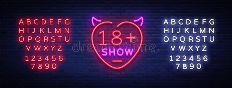 Könsbestämma showneontecknet Det ljusa nattbanret i neonstil, neonaffischtavlor för annonsering könsbestämmer shower, sexshopen,  stock illustrationer