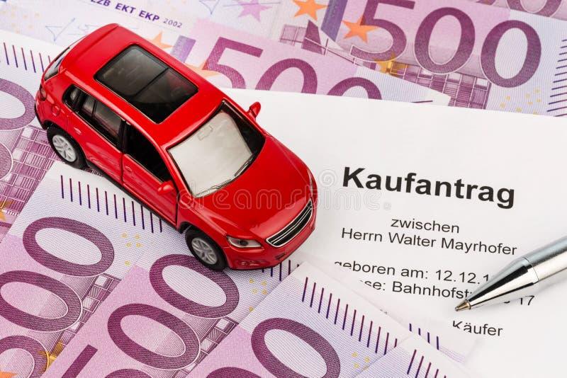 Köpöverenskommelse för bil arkivbilder