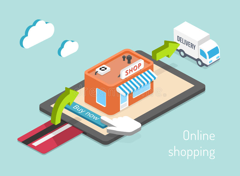 Köp, betalning och leverans stock illustrationer