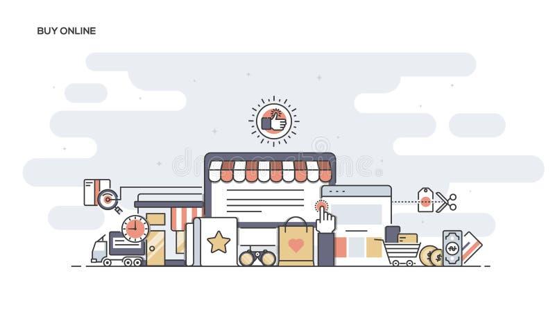 Köp den online-plana linjen planlagt baner stock illustrationer
