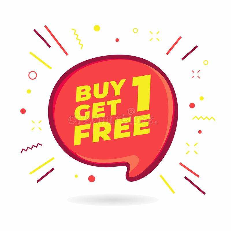 Köp 1 får 1 fri, banret för försäljningsanförandebubblan, mall för rabattetikettsdesign royaltyfri illustrationer