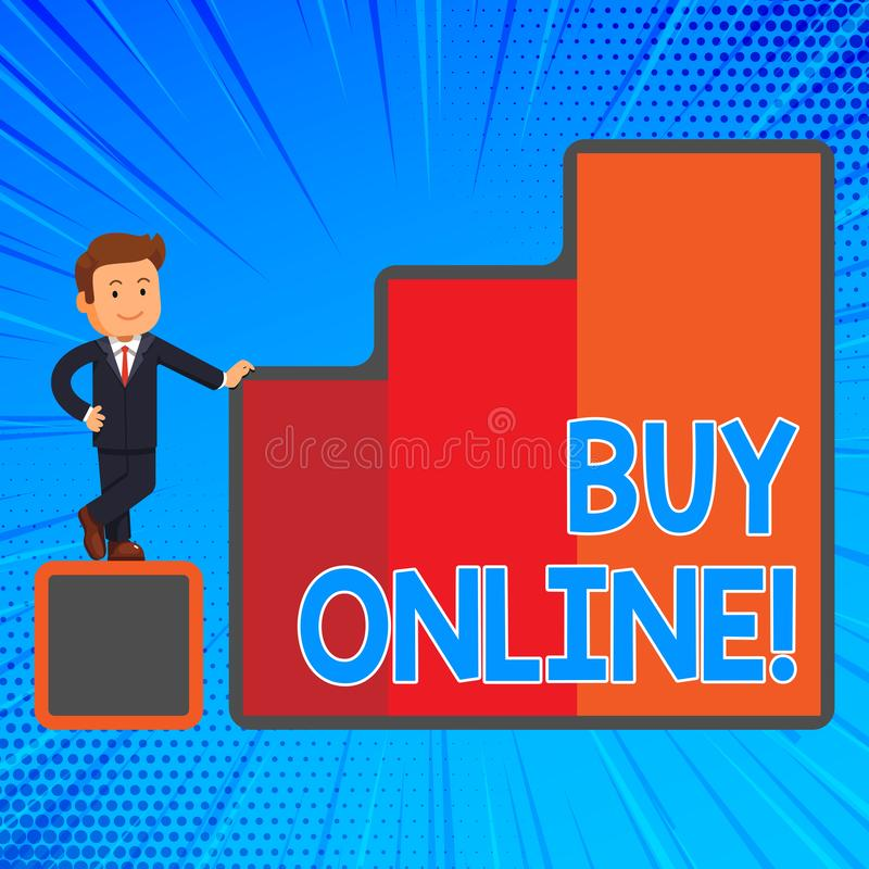 Köp för handskrifttexthandstil direktanslutet Elektronisk kommers för begreppsbetydelse som låter konsumenter direkt köpa gods stock illustrationer
