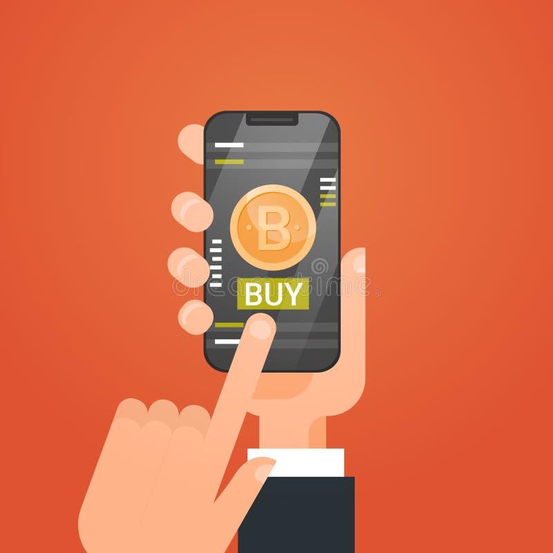 Köp för pengar för rengöringsduk för Crypto Smart för innehav för hand för begrepp för valutateknologiBitcoin utbyte telefon mode vektor illustrationer