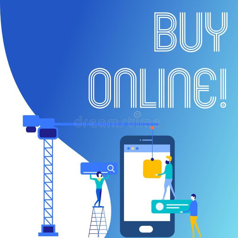 Köp för textteckenvisning direktanslutet Elektronisk kommers för begreppsmässigt foto som låter konsumenter direkt köpa godsperso royaltyfri illustrationer