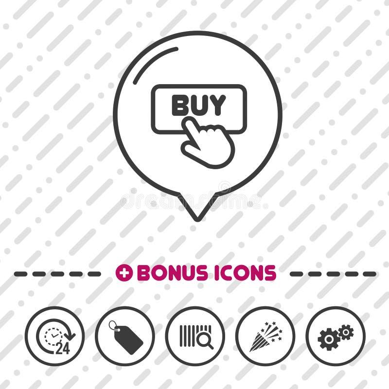 Köp knappsymbolen Klicksymbol vektor illustrationer