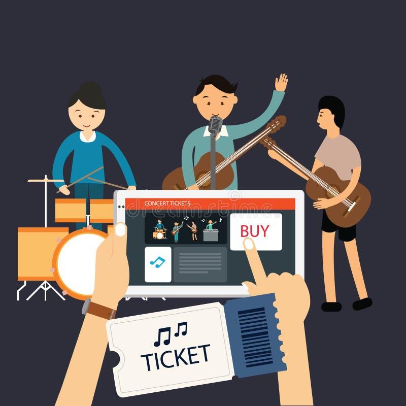 Köp musikkonsertbiljetten den online-mobila internet royaltyfri illustrationer