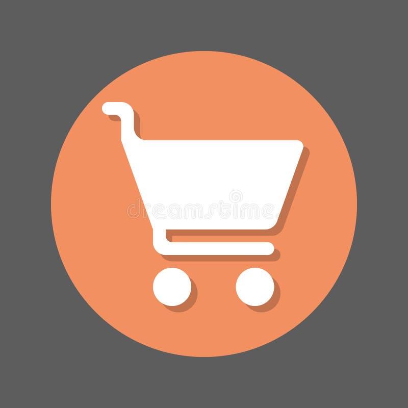 Köp symbol för lägenhet för shoppingvagn Rund färgglad knapp, runt vektortecken med skuggaeffekt Plan stildesign royaltyfri illustrationer