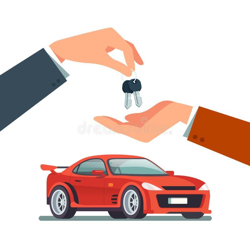 Köpa och att hyra en ny eller använd fartfylld sportbil vektor illustrationer