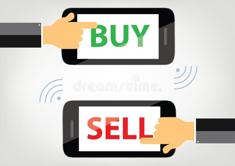 Köpa och sälja begreppsillustrationen - händer på mobiltelefoner royaltyfri illustrationer