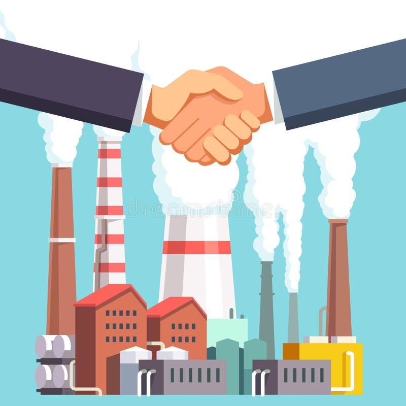 Köpa och sälja fabriken eller energiväxten stock illustrationer
