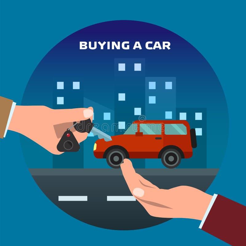 köpande bil Mannen får tangenter stock illustrationer