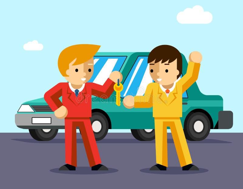 köpande bil Mannen får tangenter till bilen stock illustrationer