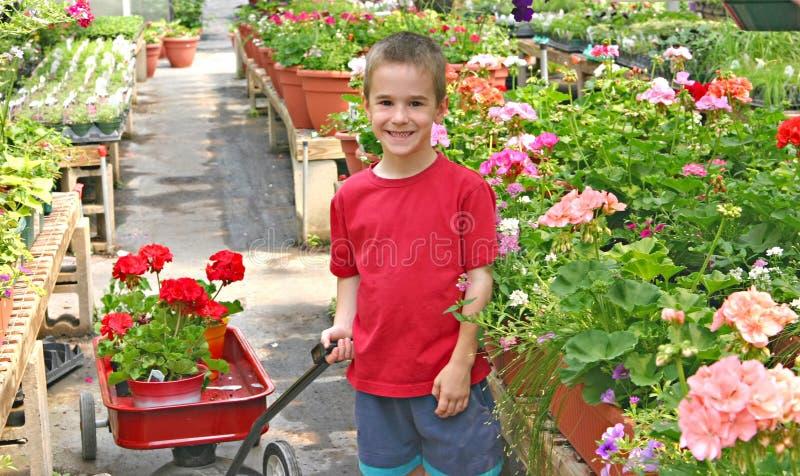köpande blommor för pojke arkivfoton